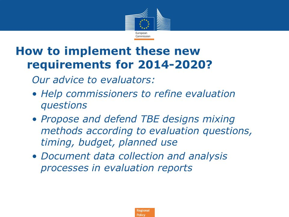 How to implement these new requirements for 2014-2020