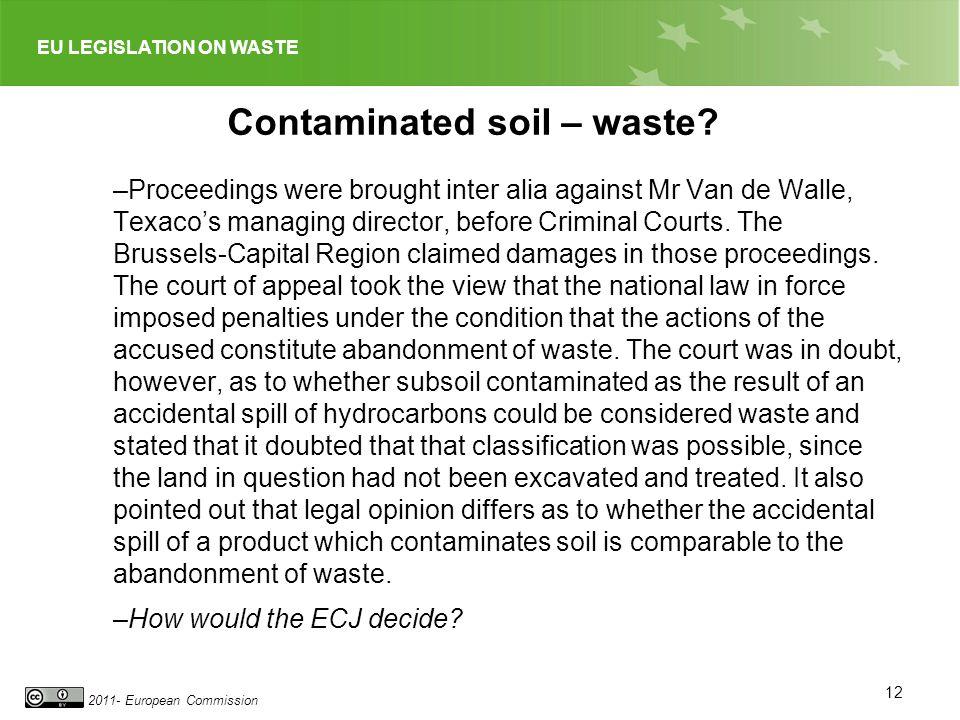 Contaminated soil – waste