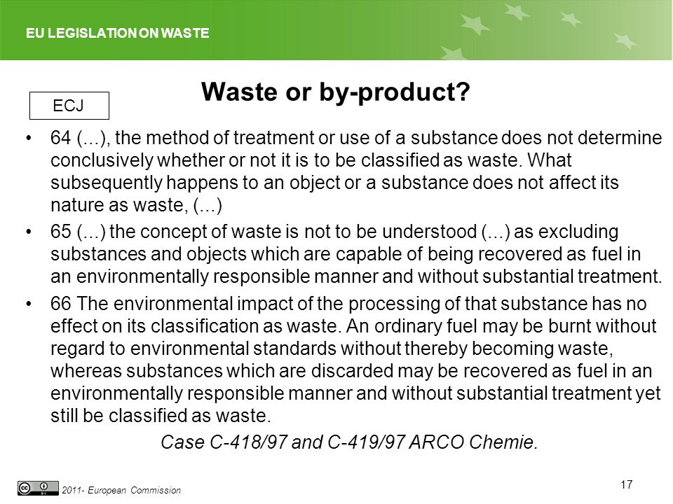 Waste or by-product ECJ.