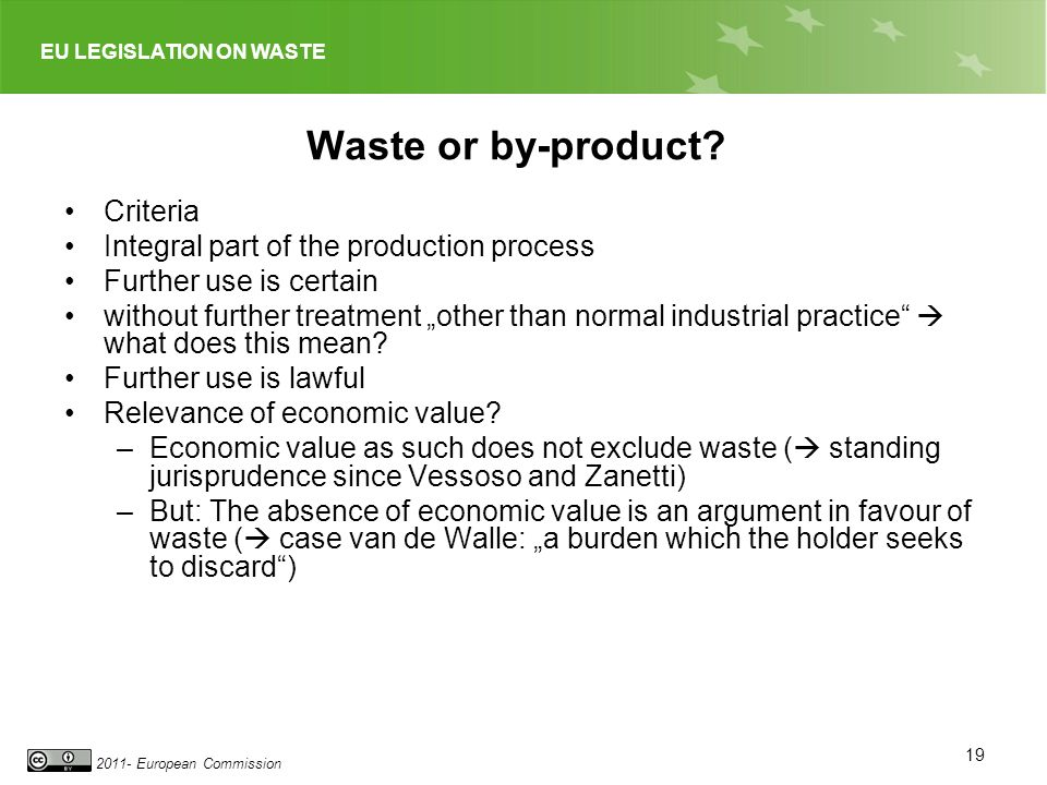 Waste or by-product Criteria Integral part of the production process