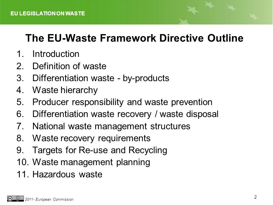 The EU-Waste Framework Directive Outline
