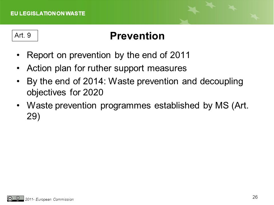 Prevention Report on prevention by the end of 2011