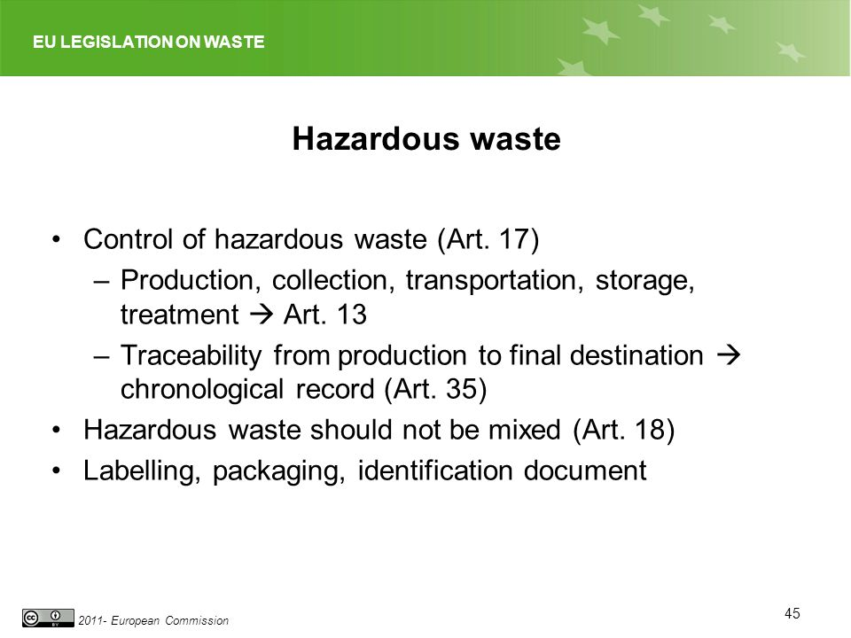 Hazardous waste Control of hazardous waste (Art. 17)