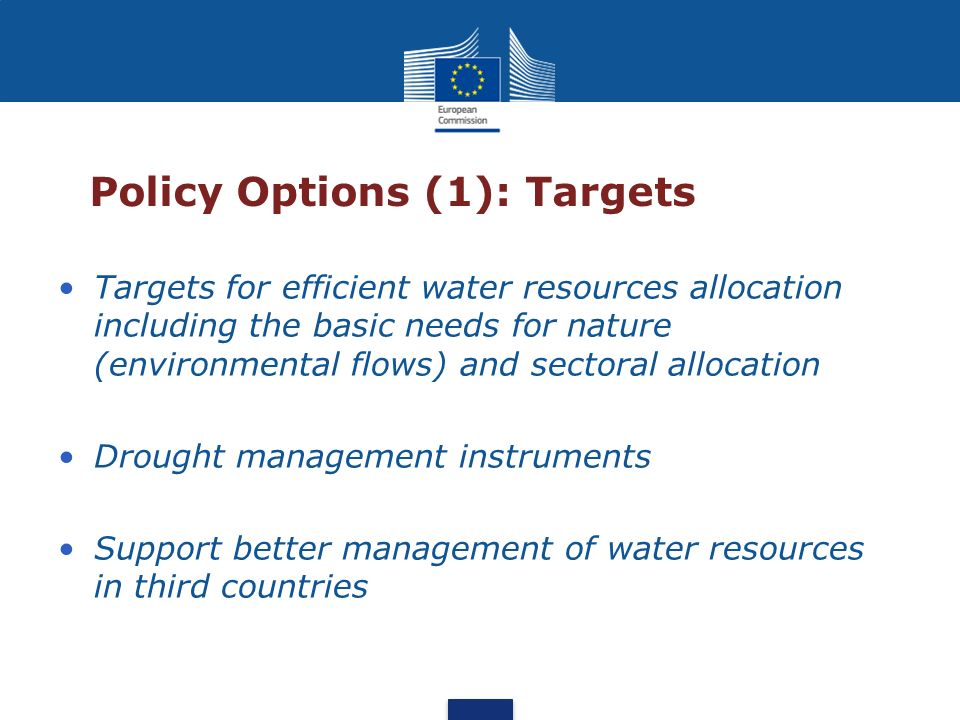 Policy Options (1): Targets