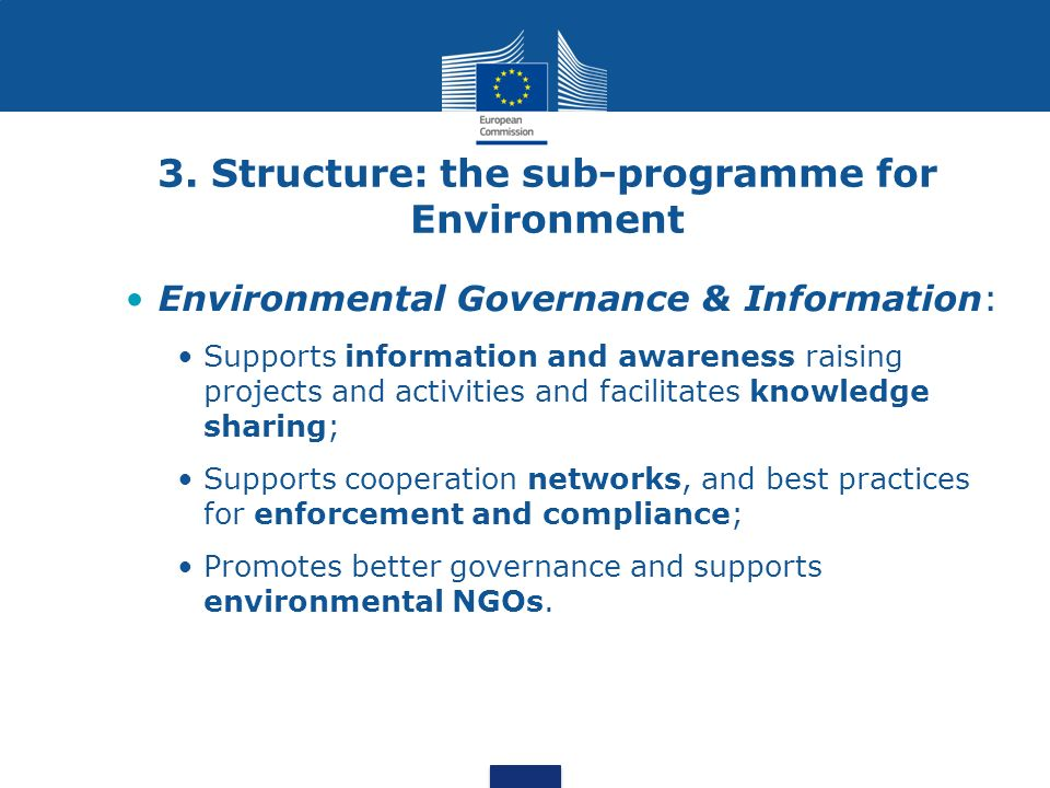3. Structure: the sub-programme for Environment