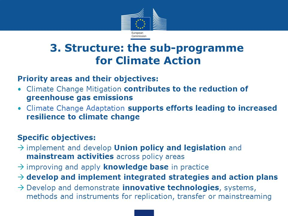 3. Structure: the sub-programme