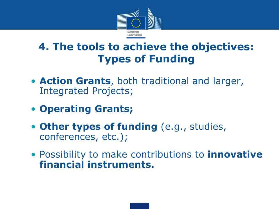 4. The tools to achieve the objectives: Types of Funding