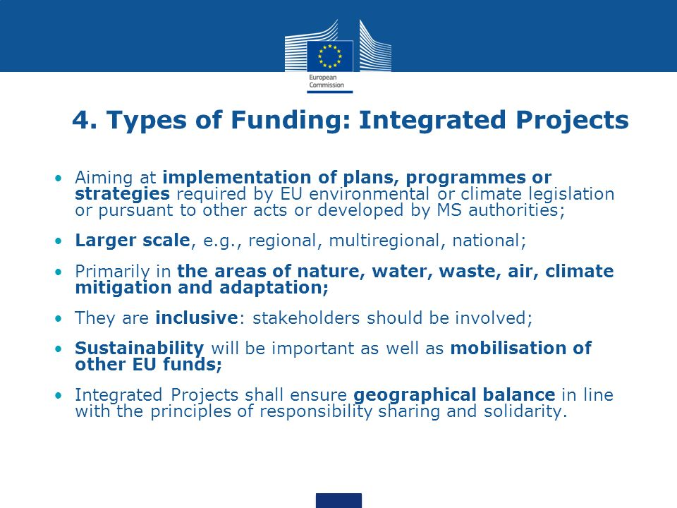 4. Types of Funding: Integrated Projects