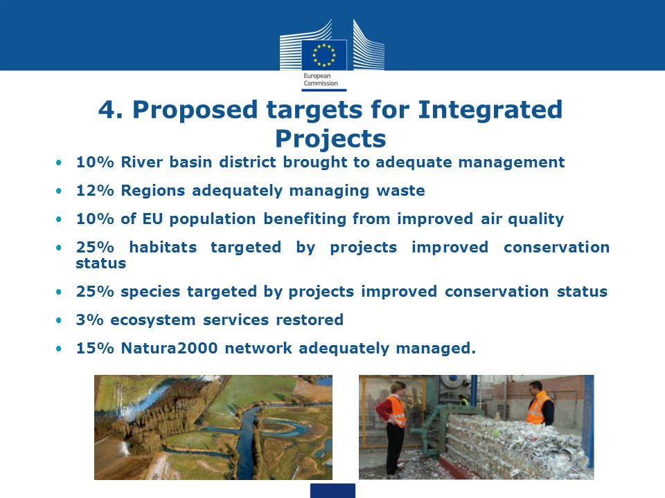 4. Proposed targets for Integrated Projects