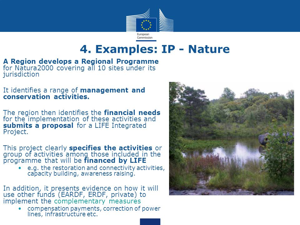 4. Examples: IP - Nature A Region develops a Regional Programme for Natura2000 covering all 10 sites under its jurisdiction.