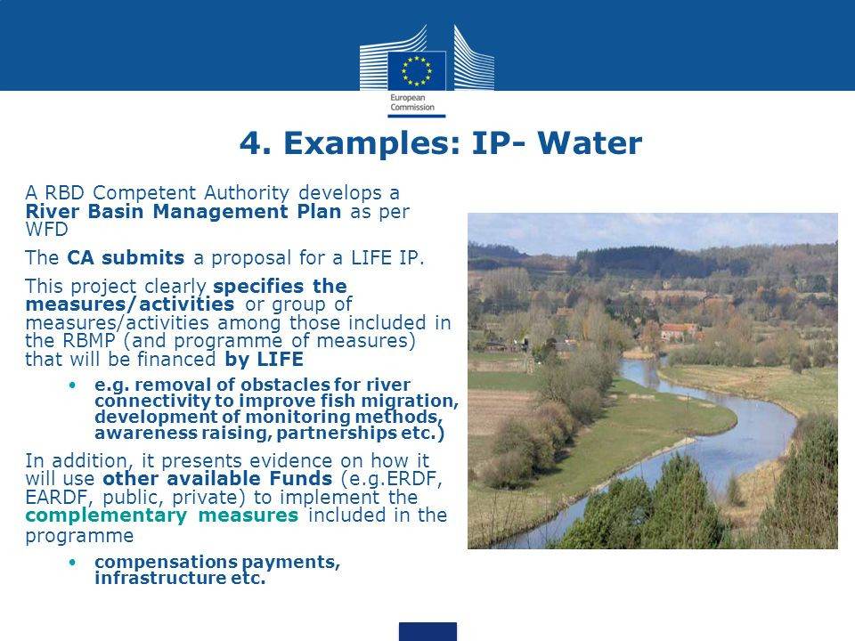 4. Examples: IP- Water A RBD Competent Authority develops a River Basin Management Plan as per WFD.