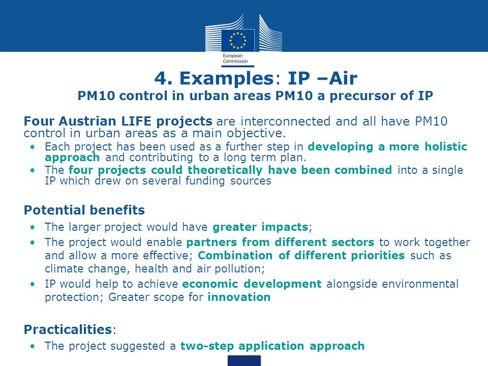 4. Examples: IP –Air PM10 control in urban areas PM10 a precursor of IP