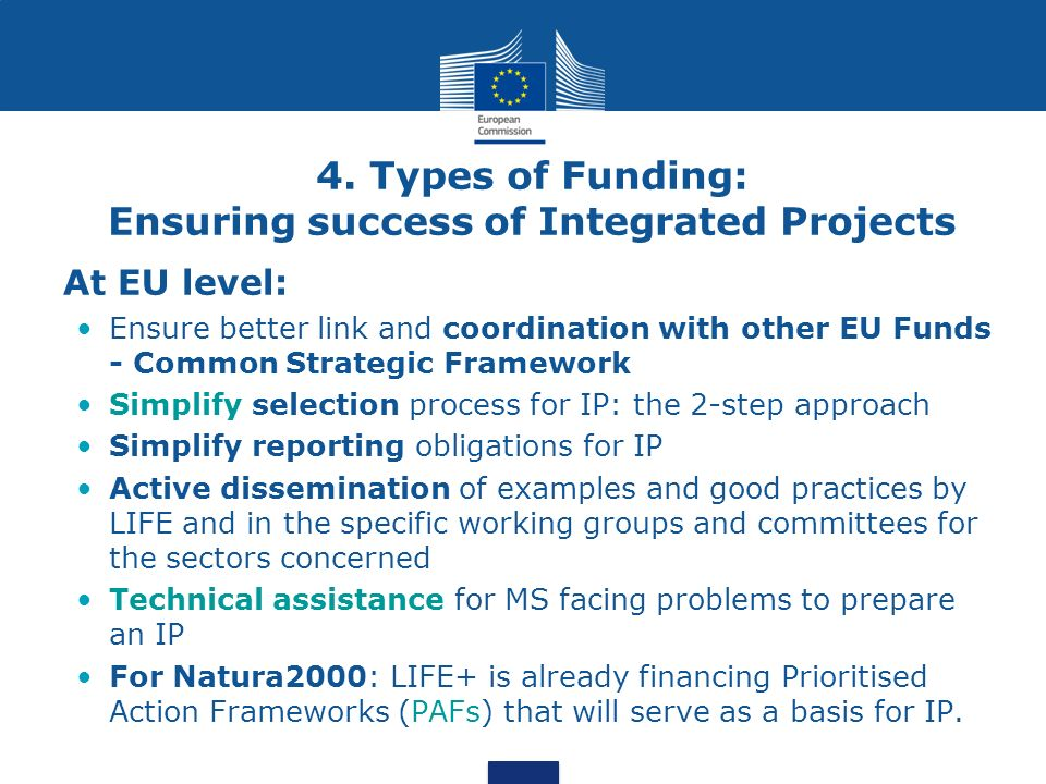 4. Types of Funding: Ensuring success of Integrated Projects