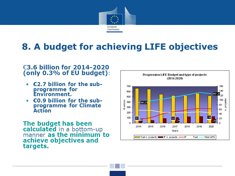 8. A budget for achieving LIFE objectives