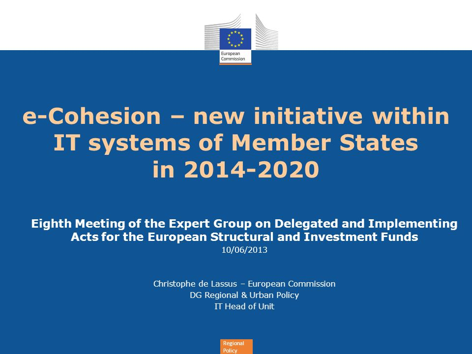 e-Cohesion – new initiative within IT systems of Member States in 2014-2020