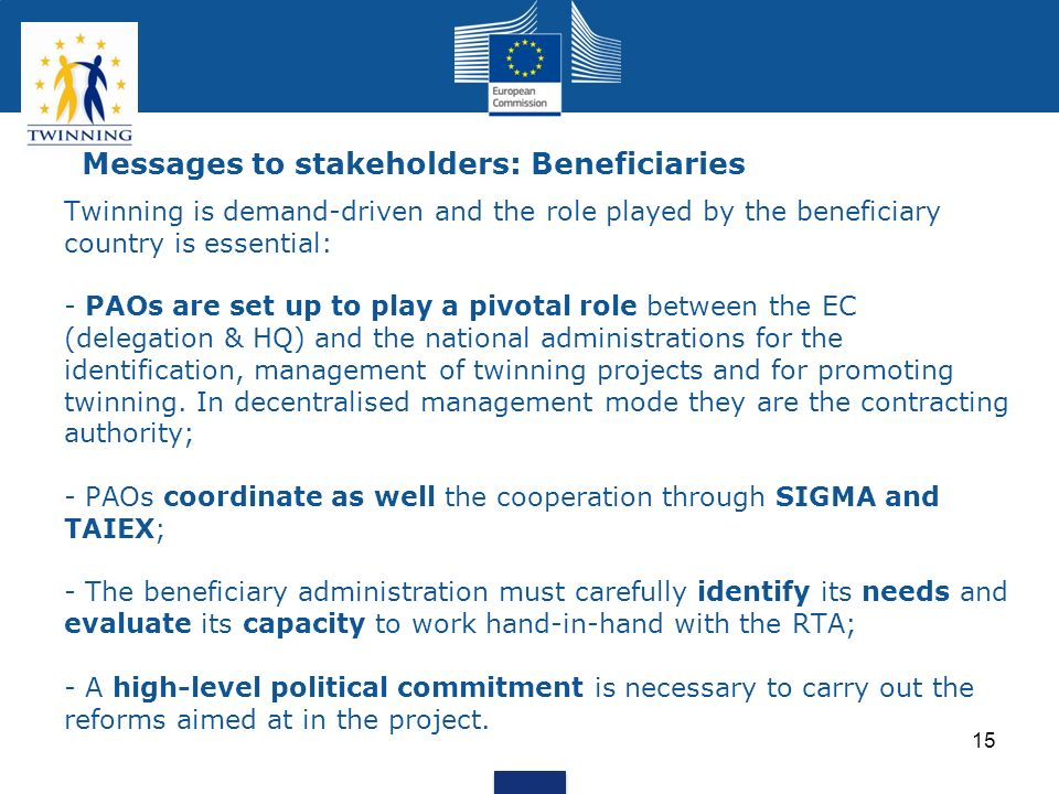 Messages to stakeholders: Beneficiaries