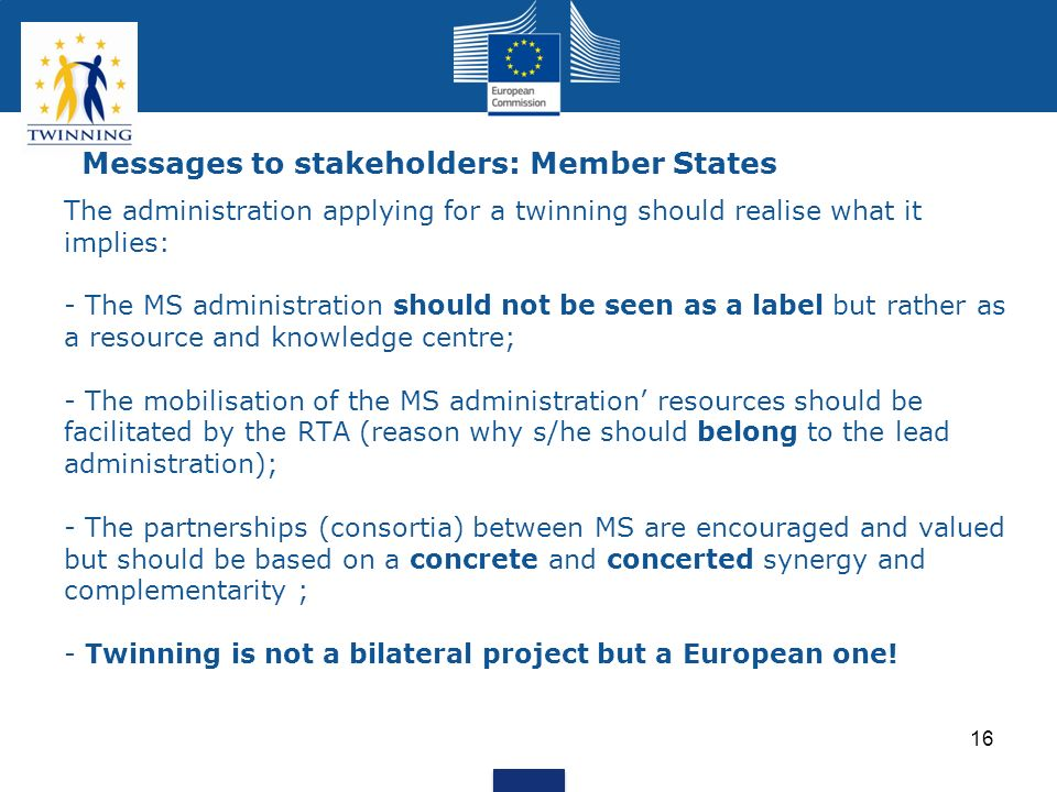 Messages to stakeholders: Member States