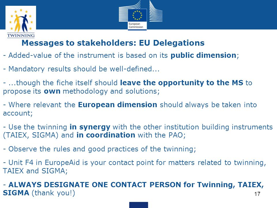 Messages to stakeholders: EU Delegations