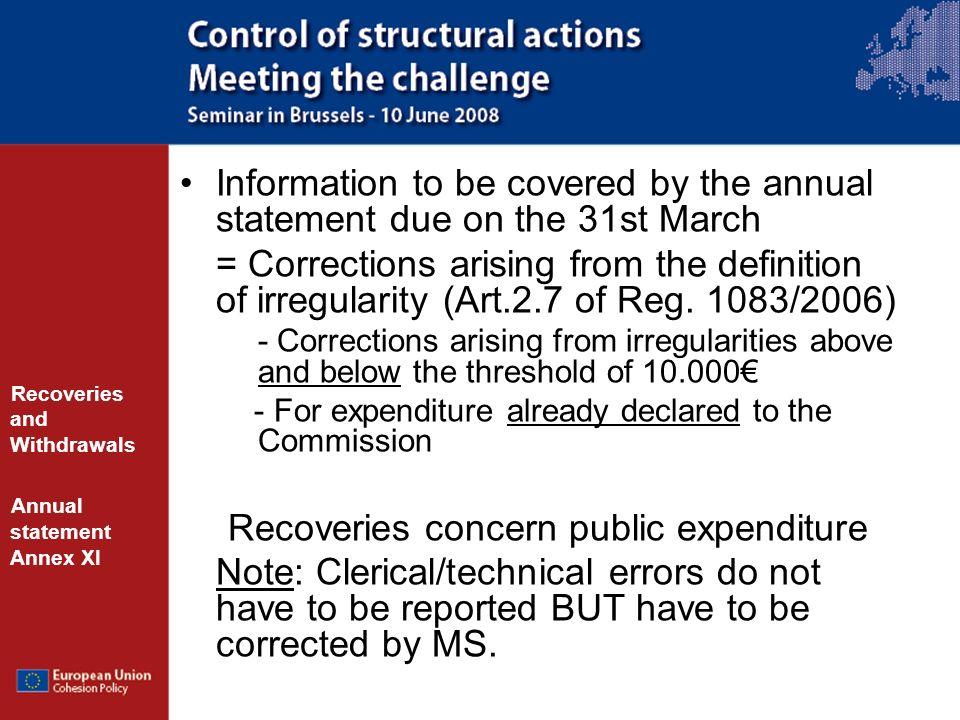 Recoveries concern public expenditure