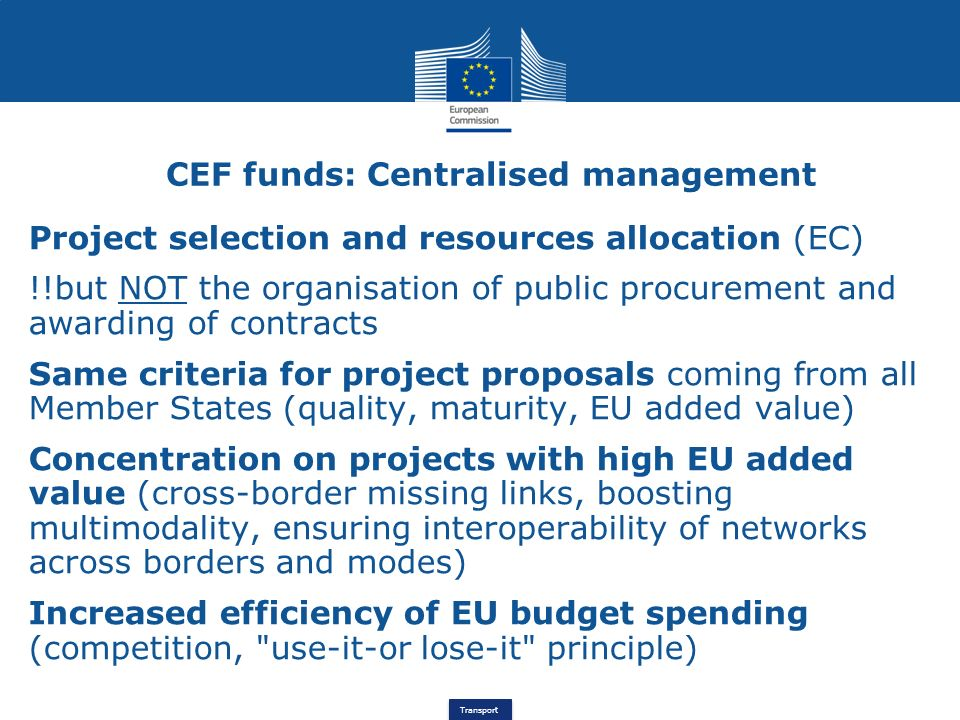 CEF funds: Centralised management