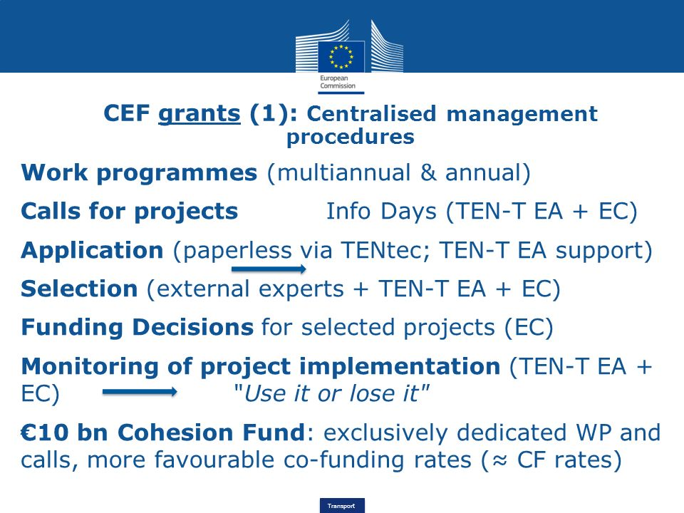 CEF grants (1): Centralised management procedures