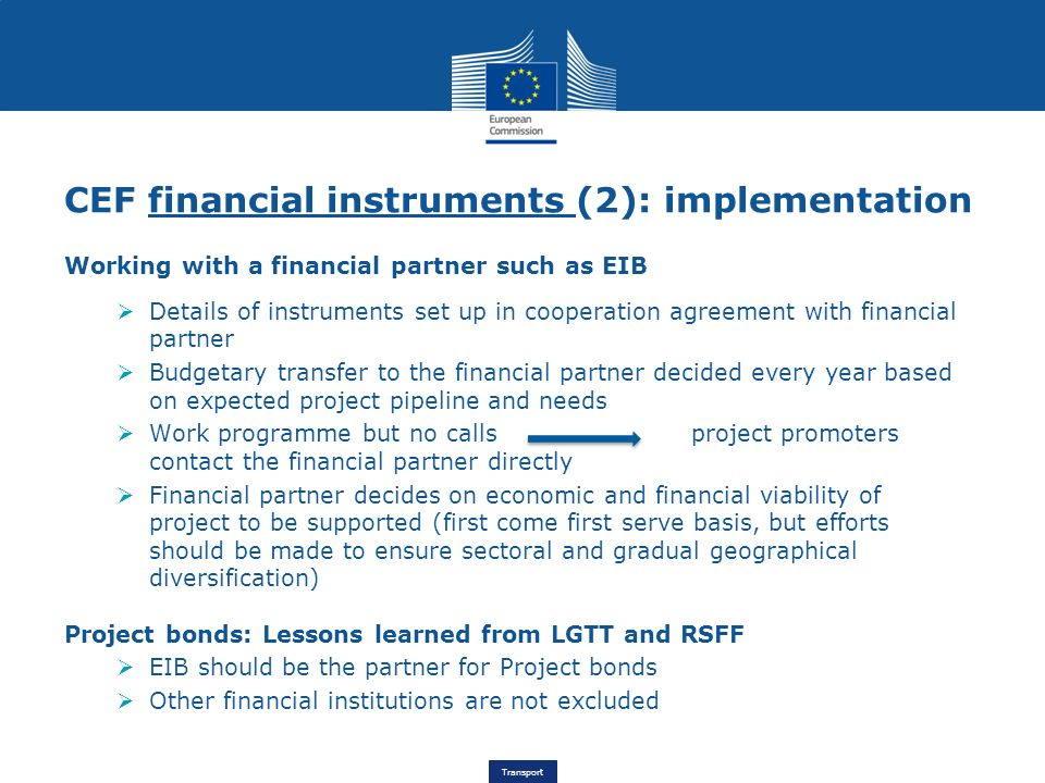 CEF financial instruments (2): implementation
