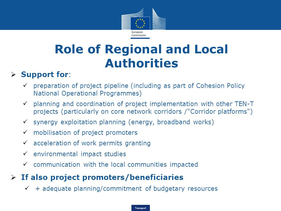Role of Regional and Local Authorities