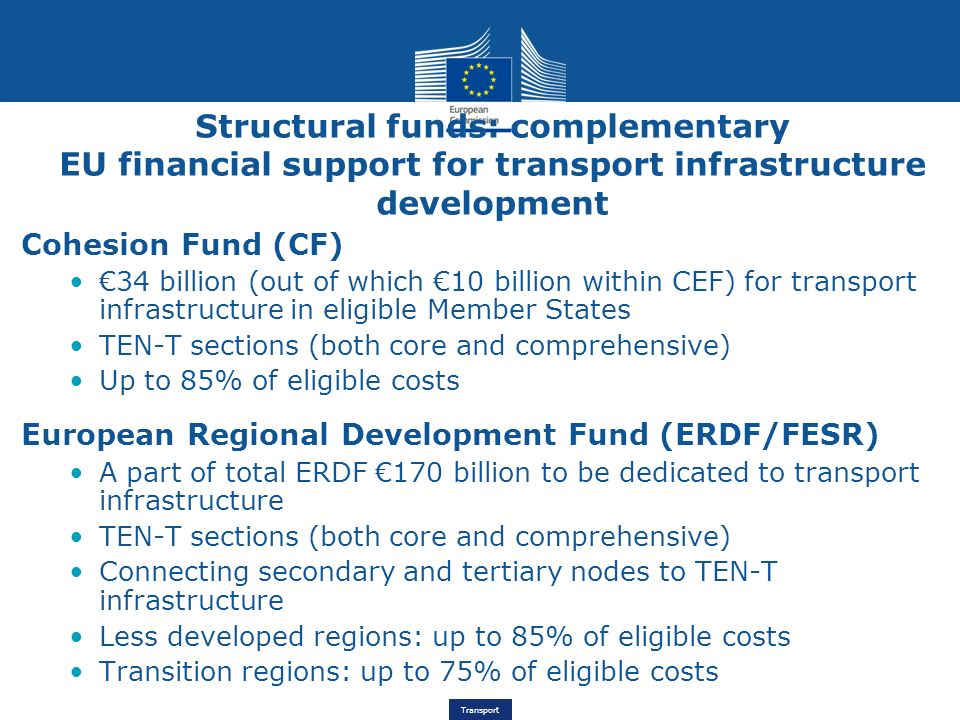 Structural funds: complementary EU financial support for transport infrastructure development