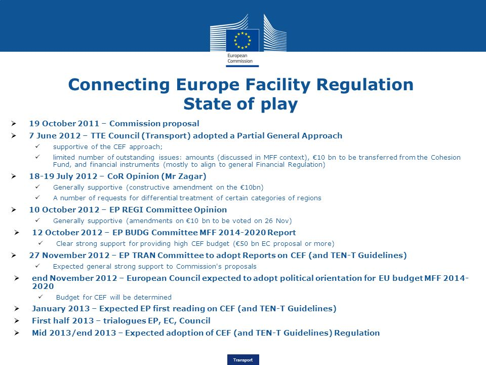 Connecting Europe Facility Regulation State of play