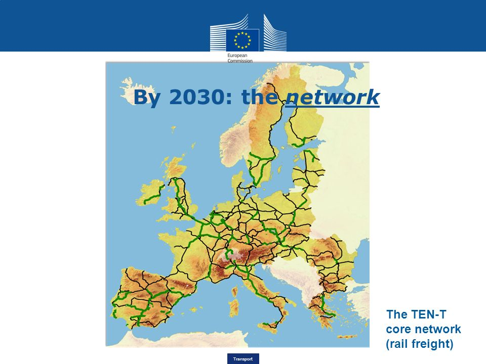 By 2030: the network The TEN-T core network (rail freight)