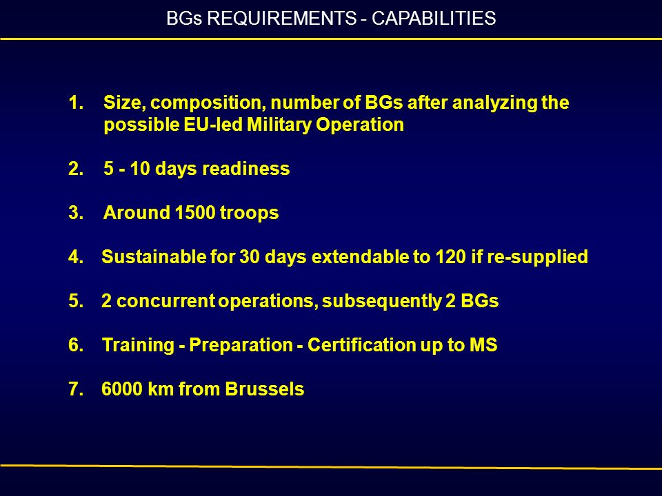 BGs REQUIREMENTS - CAPABILITIES