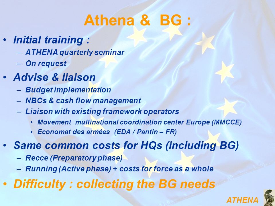 Athena & BG : Difficulty : collecting the BG needs Initial training :