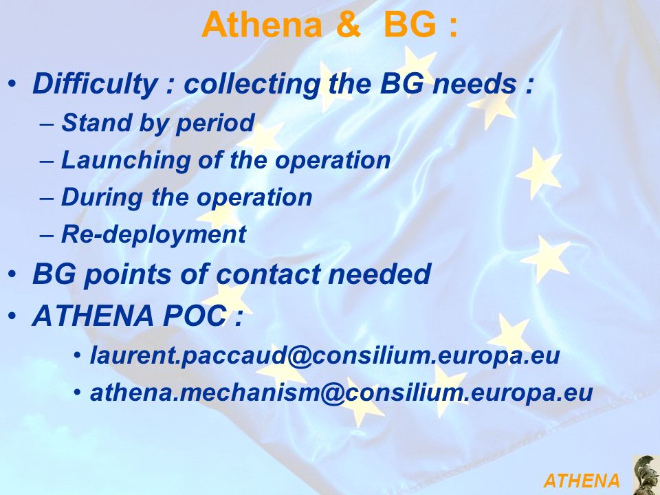 Athena & BG : Difficulty : collecting the BG needs :