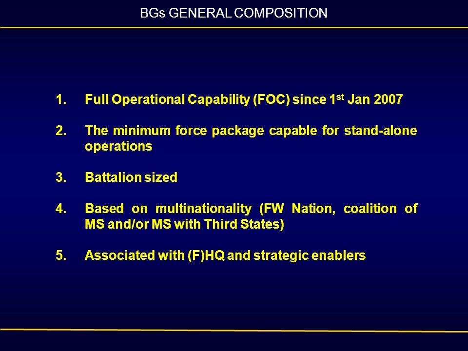 BGs GENERAL COMPOSITION