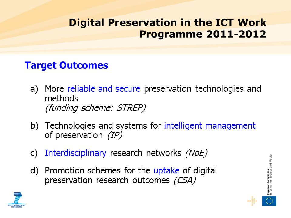 Digital Preservation in the ICT Work Programme 2011-2012