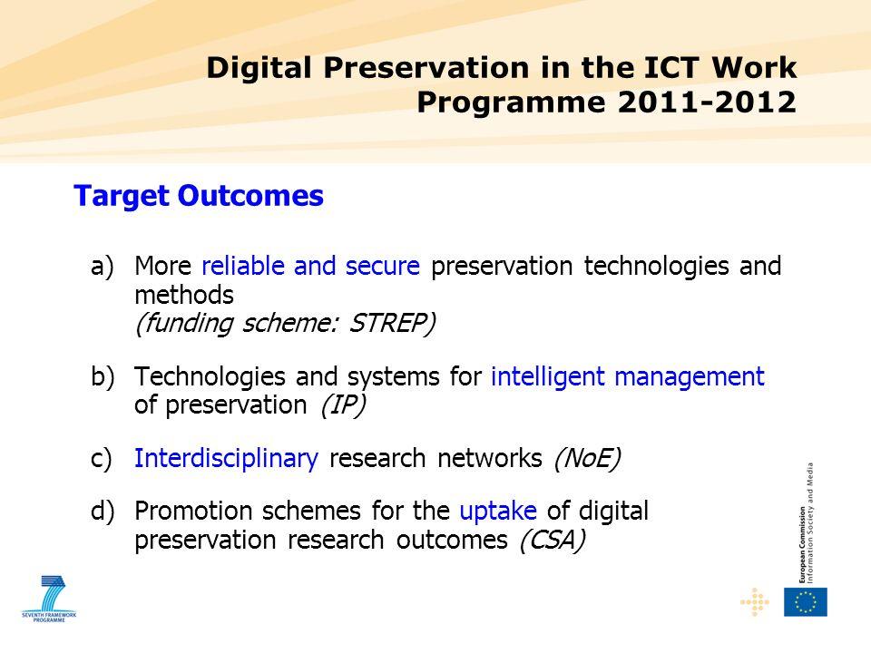 Digital Preservation in the ICT Work Programme 2011-2012
