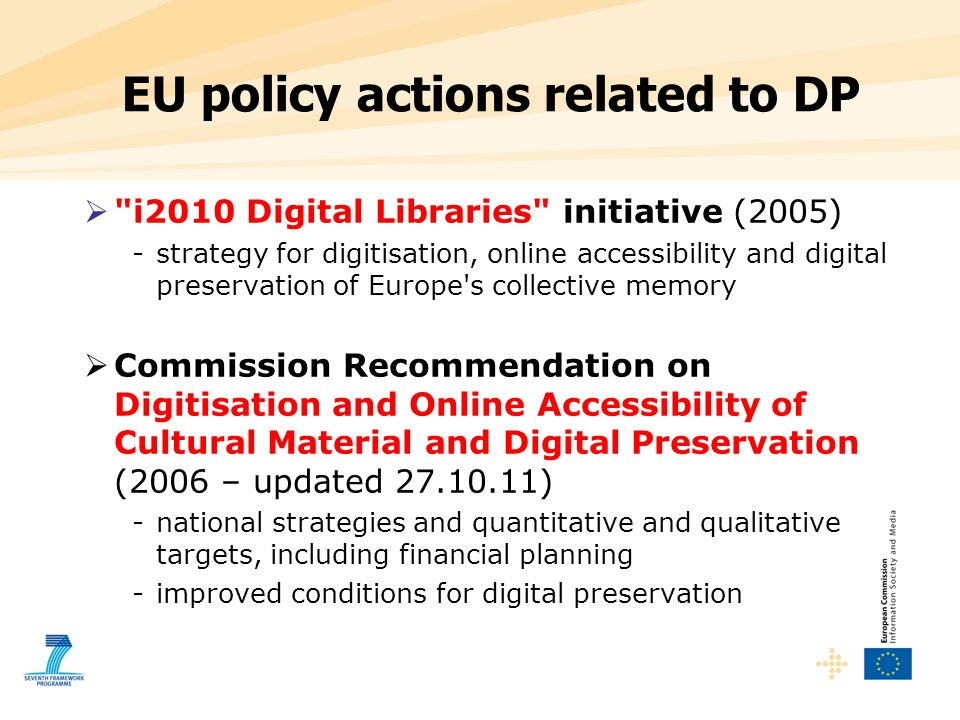 EU policy actions related to DP