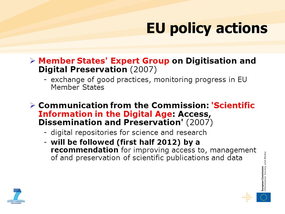 EU policy actions Member States Expert Group on Digitisation and Digital Preservation (2007)