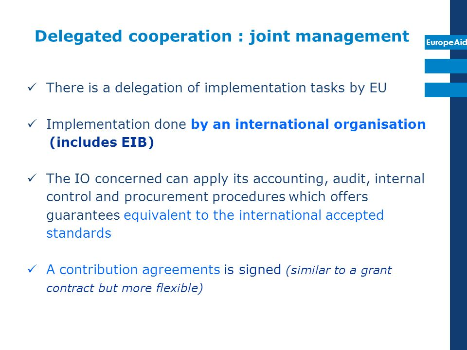 Delegated cooperation : joint management
