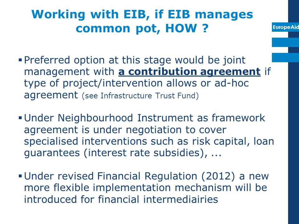 Working with EIB, if EIB manages common pot, HOW