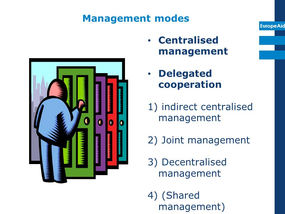 Management modes Centralised management. Delegated cooperation. indirect centralised management.