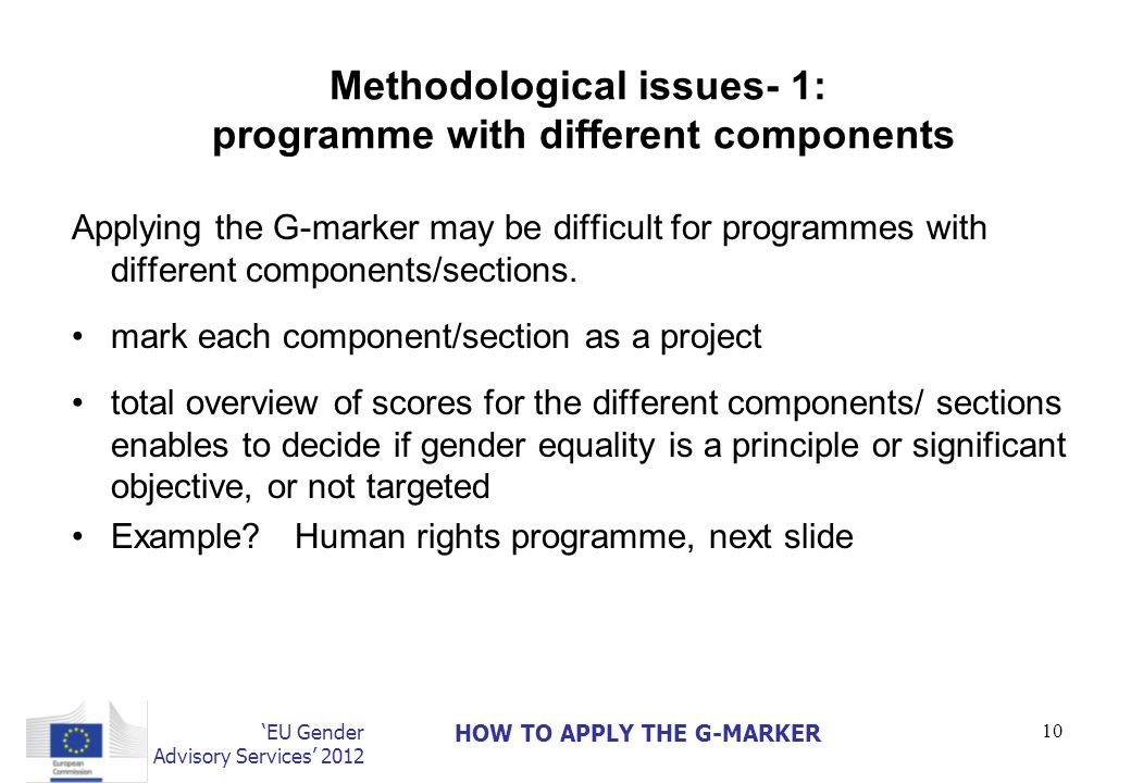 Methodological issues- 1: programme with different components