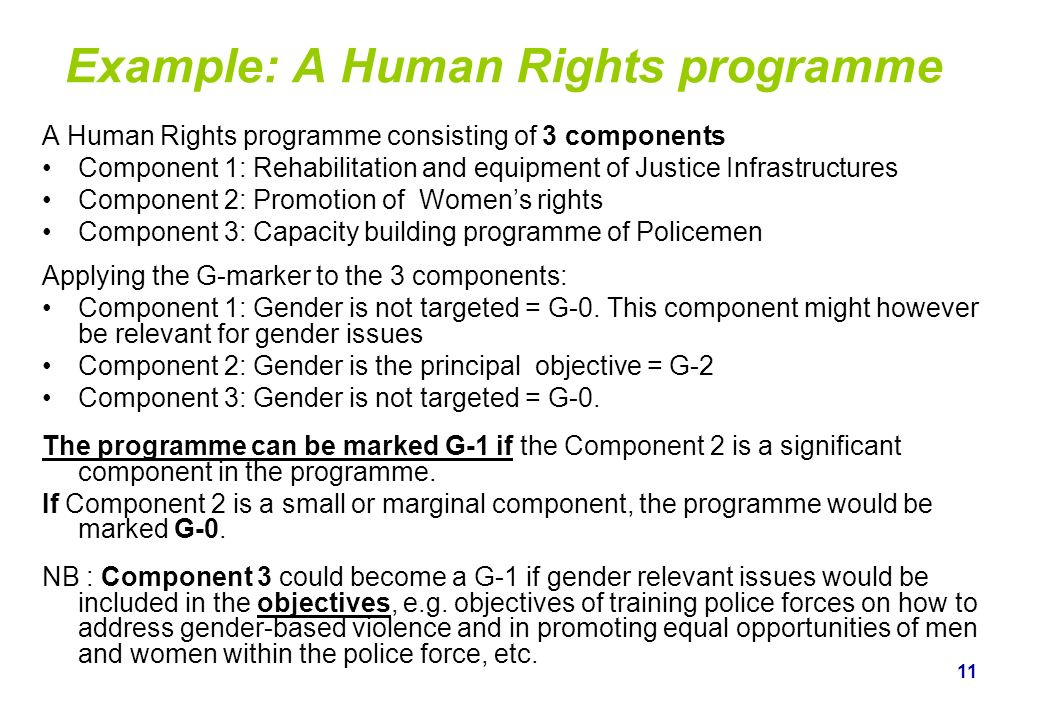 Example: A Human Rights programme