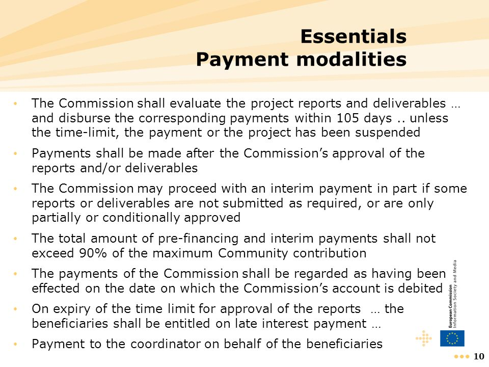Essentials Payment modalities