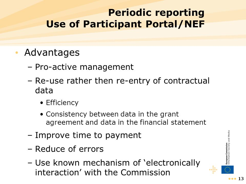 Periodic reporting Use of Participant Portal/NEF