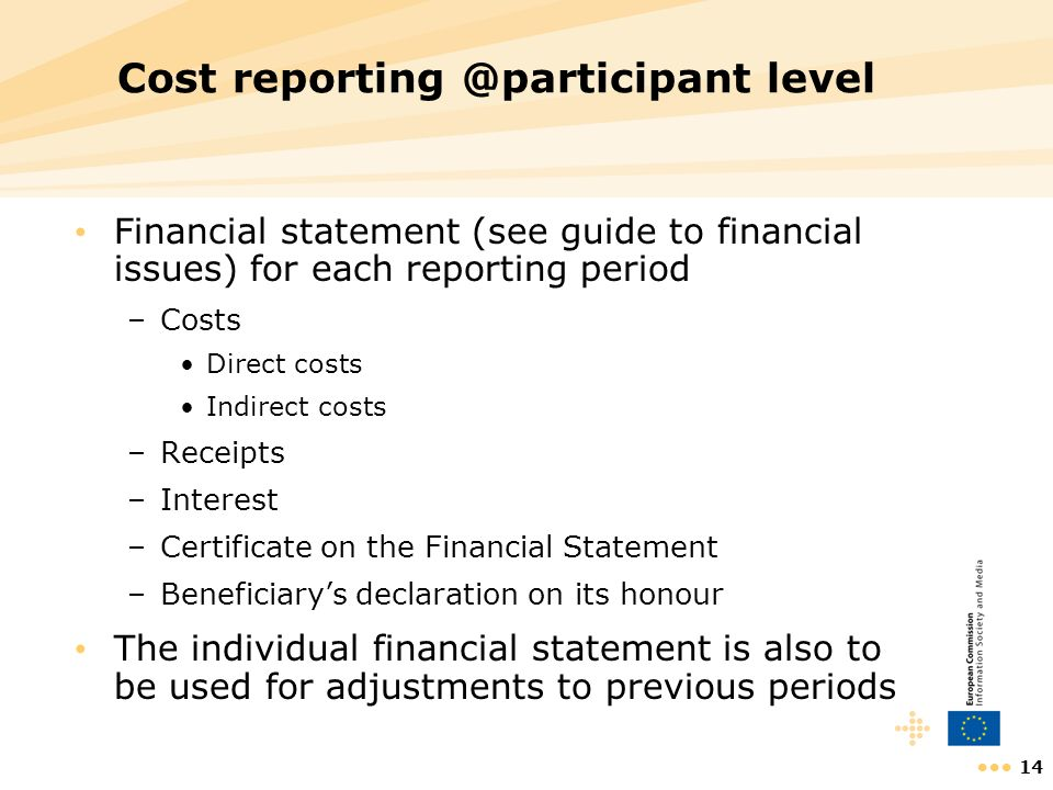 Cost reporting @participant level