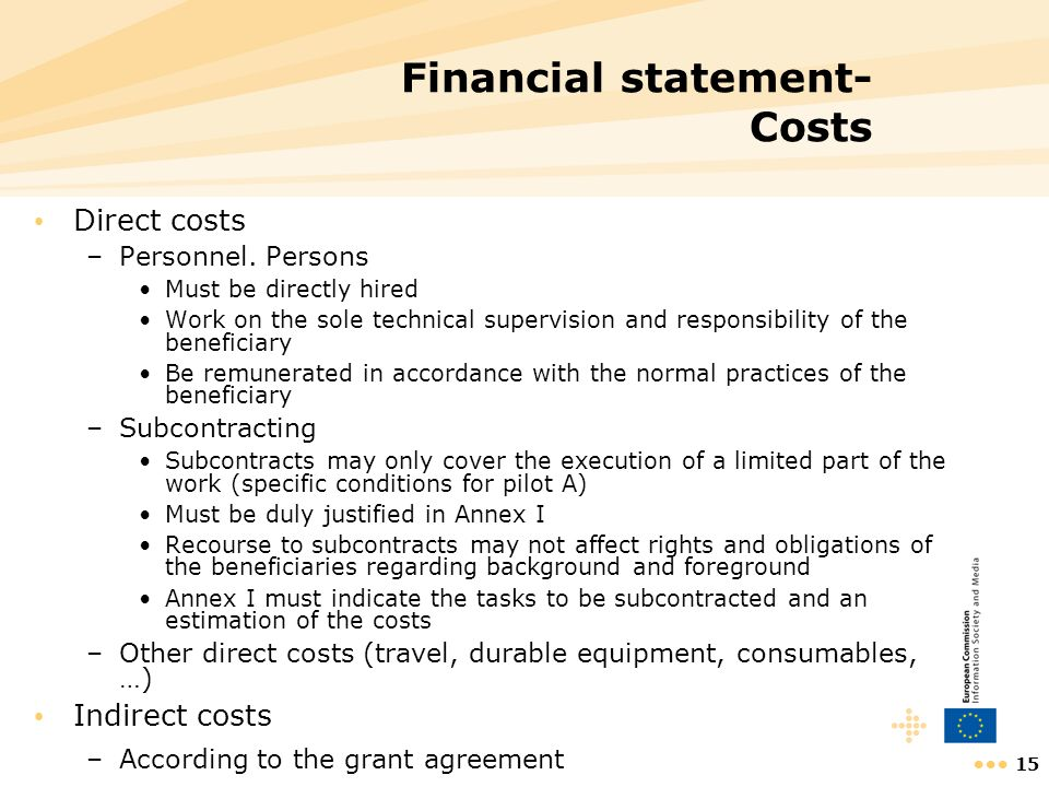 Financial statement- Costs