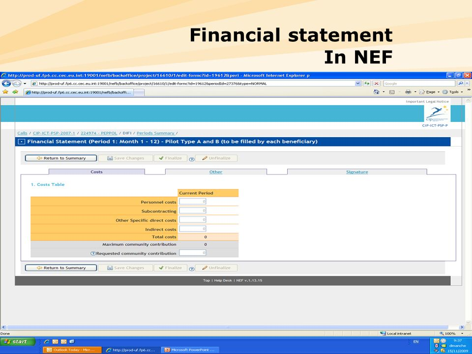 Financial statement In NEF