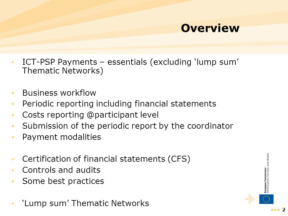 Overview ICT-PSP Payments – essentials (excluding 'lump sum' Thematic Networks) Business workflow.