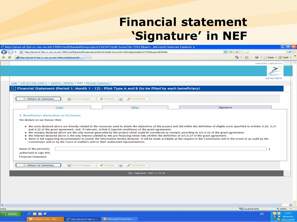 Financial statement 'Signature' in NEF